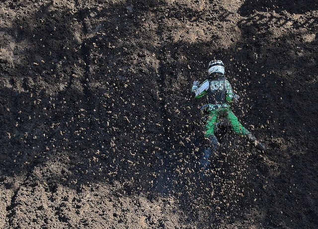 David Bradley successfully navigated the slime and finished fourth. at Washougal.
