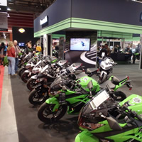 Green Kawasaki's lined up.