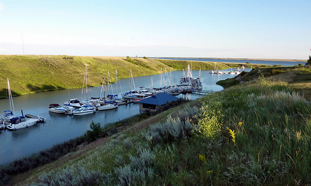 Boats at a marina on Lake Diefenbaker.