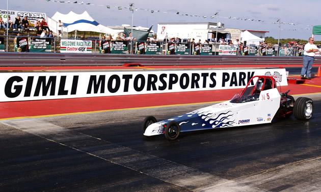 A car lined up at the drag strip at Gimli Motorsports Park.