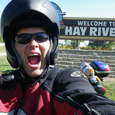 Jeff Lee and his faithful riding buddy, Homer, are excited to arrive at Hay River.