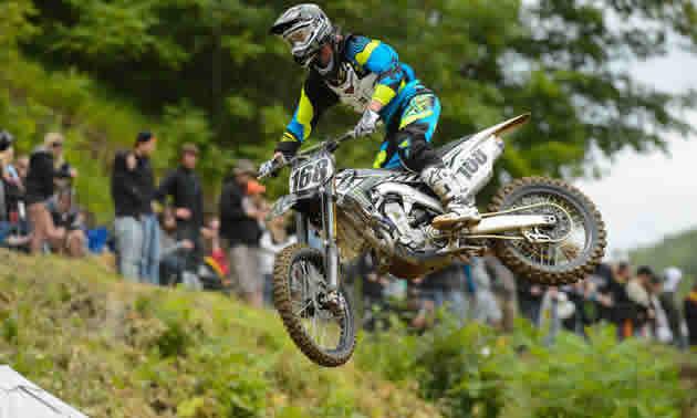 Tucker Hibbert flying high on a motocross bike.