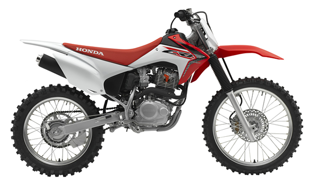 red and white 2016 CRF230F play bike from Honda.