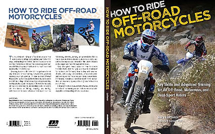 Photo of the cover a book with a guy on a motorcycle riding towards the viewer.