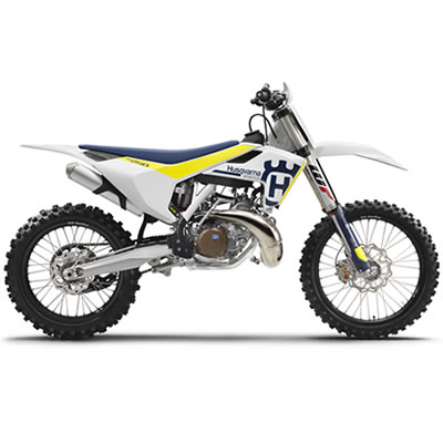 The red, blue and white Husqvarna TC 250 two-stroke motocross bikes.