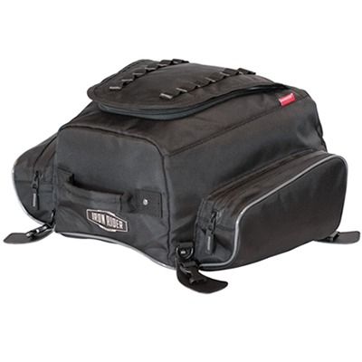 Black tail bag for motorcycle touring.