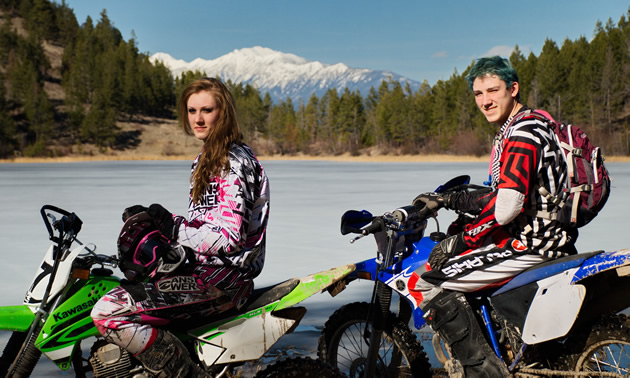 People riding dirt bikes in Cranbrook, BC