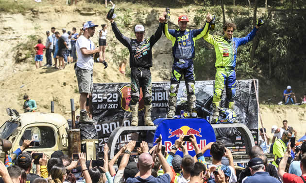 Graham Jarvis on the top step of the podium after the 2017 Red Bull Romaniacs.