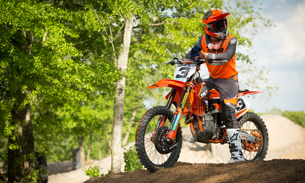 Kaven Benoit on his factory KTM ride.