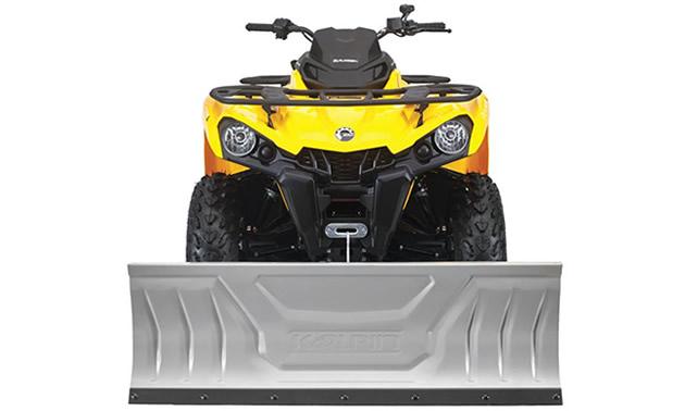 Kolpin snow plow on a yellow ATV.