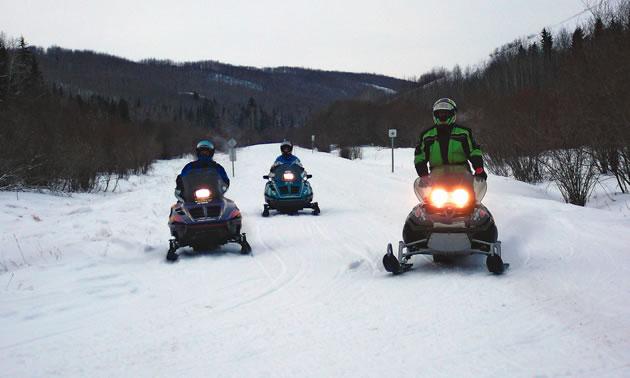 Snowmobilers enjoying their day