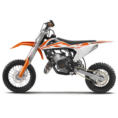 The orange, white and black 2017 KTM SX 50.