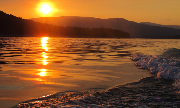A beautiful sunset taken from a boat on Lake Koocanusa.