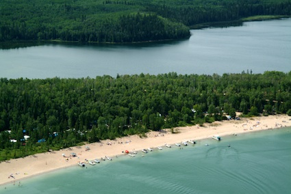Overhead view of beach