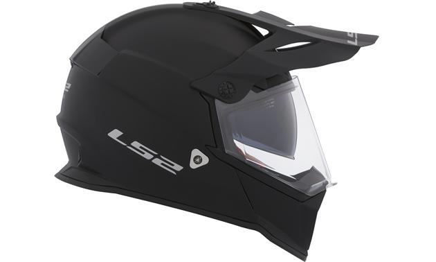 Black LS2 Pioneer helmet for adventure riders.