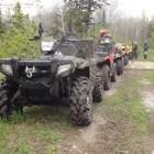 ATVs lined up behind each other on a path