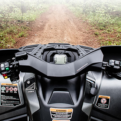 Rider's view of an ATV dashboard.