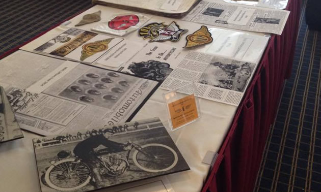 Manitoba Motorcycle Club memorabilia is on a table display at the Canadian Motorcycle Hall of Fame 2014 inductee awards banquet.