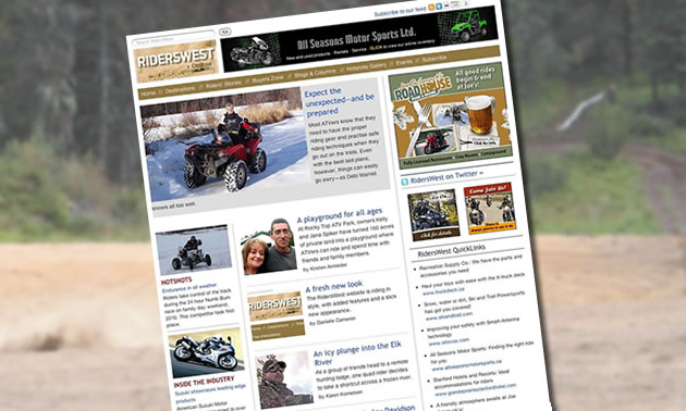 screenshot of RidersWest website home page