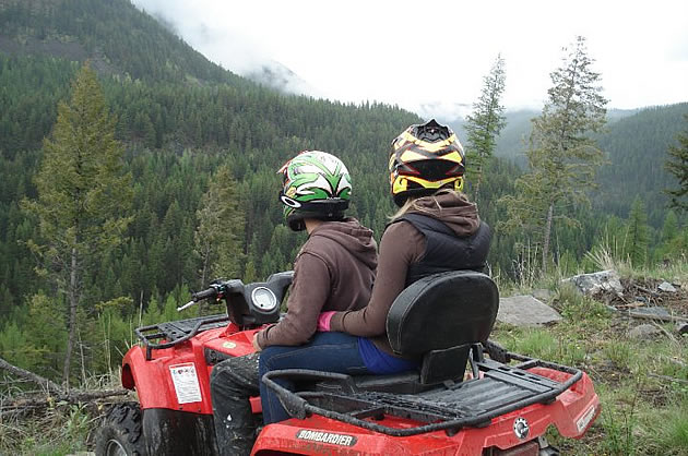 person quadding in Cranbrook, BC