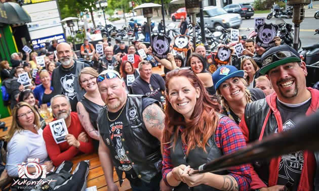 A group of biker's gathered in calgary for OBB's bike night.