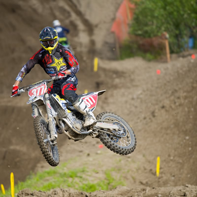 Christophe Pourcel running the coveted Champion red plate in Prince George, BC.