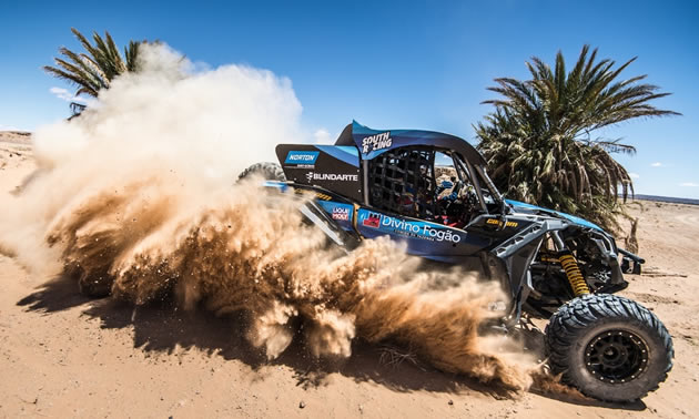 South Racing/Can-Am driver Bruno Varela and co-pilot Gustavo Gugelmin won the 2018 Afriquia Merzouga Rally (Dakar series) in Northern Africa in their innovative Can-Am Maverick X3 X rs Turbo R side-by-side vehicle.
