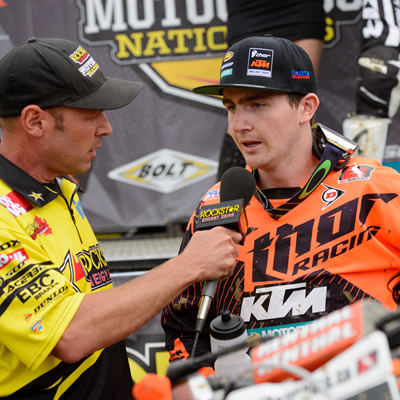 Cole Thompson being interviewed on the podium after winning Round 2 in Nanaimo, B.C.