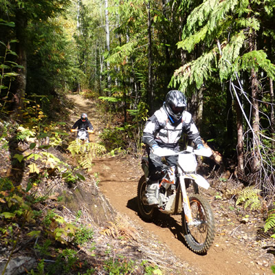 Two dirt riders on the single-track trails in Revelstoke.