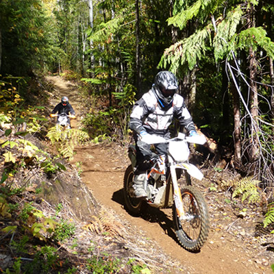 Two riders on the single-track trails in Revelstoke.