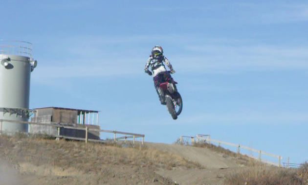 Rider Michael Lysyshyn practicing at Temple Hill Motorcycle Park in Raymond Alberta.