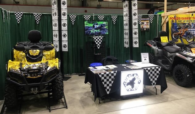 The Right Nuts ATV Club's display booth at the 2017 Cloverdale Hunting and Fishing show in Surrey, B.C.