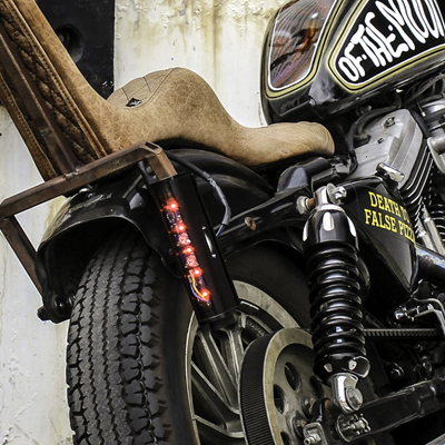 Baja Designs aftermarket tail light on a motorcycle.