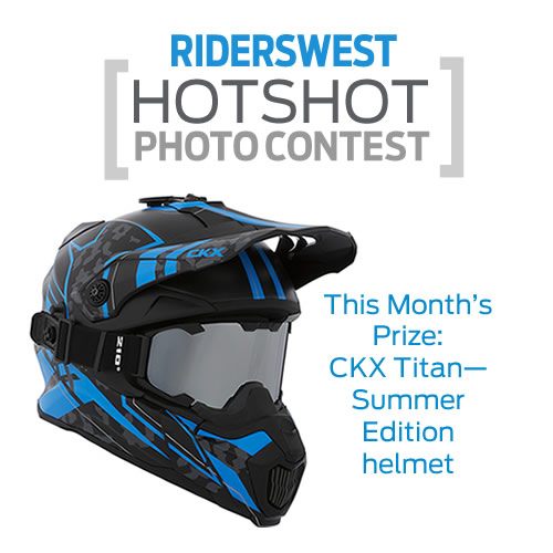 A blue, black and grey helmet that riders can win if they enter the Hotshots photo contest.