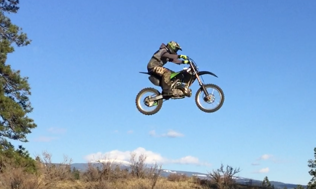 This rider was airborne and enjoying the exhilaration!