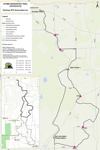 Map of the Eastman ATV Trail from ATV Manitoba.