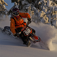 Chris Harper on a snowbike