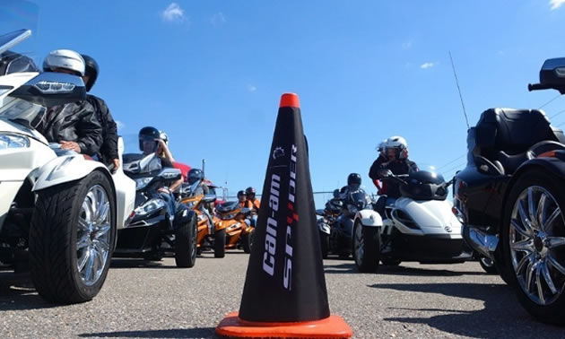 Can-Am Spyder owners preparing for a group ride in Daytona, FL.
