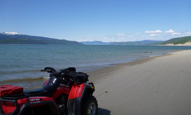 Perfect beaches on Williston Lake near the W.C. Bennett hydro dam, Hudson's Hope, B.C.