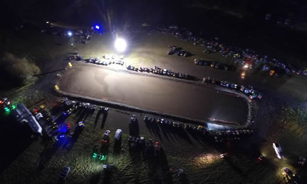 an aerial shot of friday night under the lights.