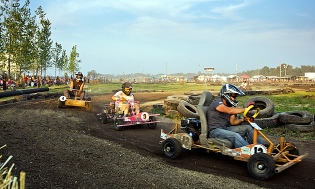 Go-kart racers at the St. Labre 200 race.