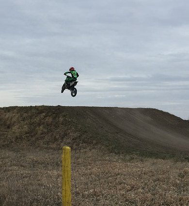 Logan Stuart catching some air at Moto Valley Speedway in Regina, SK.