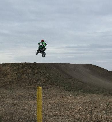 Logan Stuart catching some air at Moto Valley Speedway in Regina, SK.