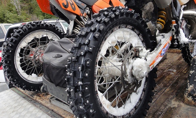 A photo of the studded tire on Shayne Ducharme's dirt bike.