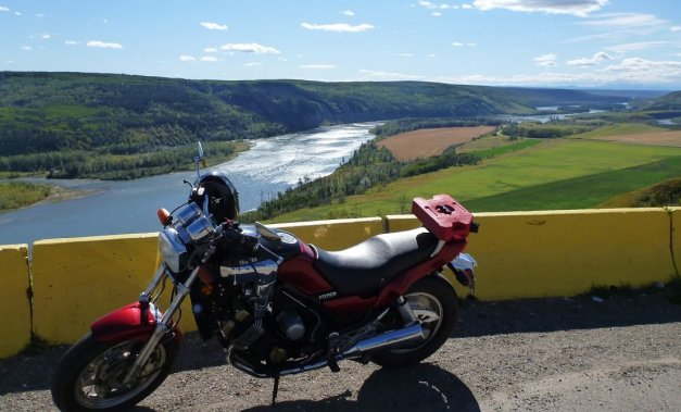 Taking in the view overlooking the Peace River from Hwy 29 between Fort St. John and Hudson's Hope B.C., on an '86 Yamaha Fazer.