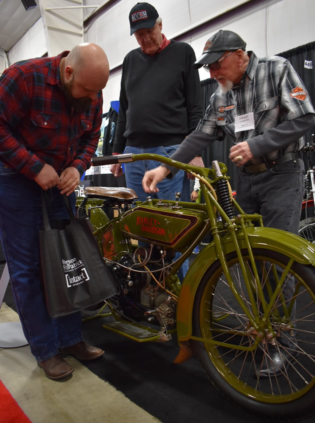 Terry Rea shows off a 1920 Harley-Davidson WJ Sport Twin.