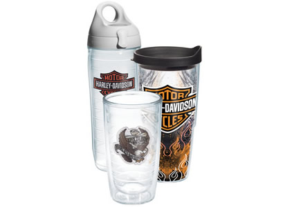 Three insulated drinking cups with Harley-Davidson insignia on each of them.