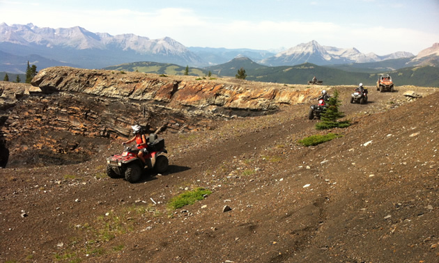 ATVs high in the mountains
