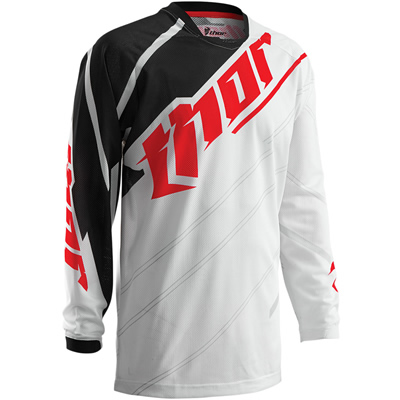 Red, white and black Thor motocross jersey and black and grey Mechanix Wear glove.