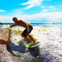 Braden Koritar enjoying his turn at wakesurfing!